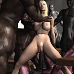 Curvy blonde gal getting stuffed and fucked by fantasy wolfmen 3D
